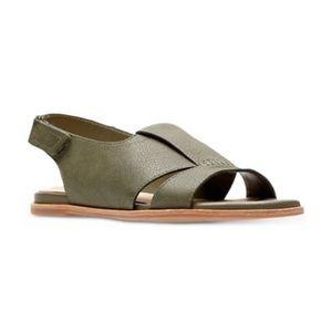 Clarks Sultana Rayne Khaki Leather Sandals US9M